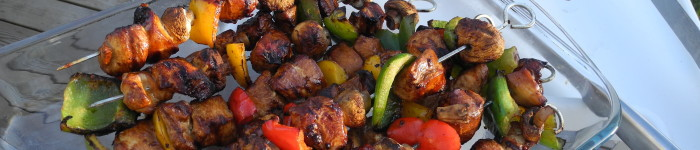 Grillade kycklingspett med paprika och champinjoner