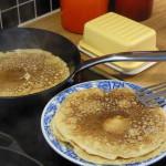 tunna pannkakor stekning