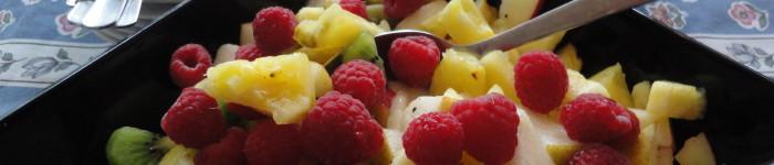 Exotisk fruktsallad med hallon