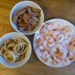 paella bläckfisk kött räkor