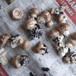 champinjoner på tidning